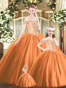 Free and Easy Tulle Off The Shoulder Sleeveless Lace Up Beading Sweet 16 Quinceanera Dress in Orange Red
