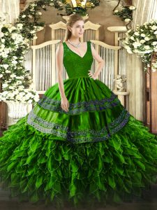 Dazzling Sleeveless Organza Floor Length Backless Sweet 16 Dress in Green with Beading and Lace and Ruffles