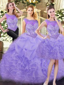Eye-catching Lavender Three Pieces Organza Scoop Sleeveless Beading and Ruffles Floor Length Zipper Sweet 16 Dress