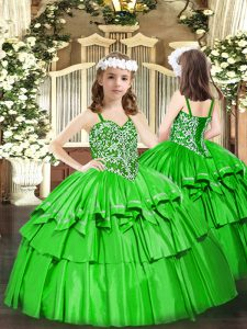 Organza Straps Sleeveless Lace Up Beading and Ruffled Layers Pageant Dress for Teens in Green
