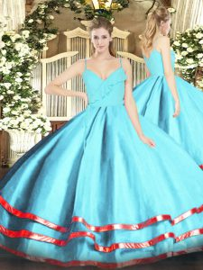 Dazzling Ball Gowns Vestidos de Quinceanera Aqua Blue Spaghetti Straps Organza Sleeveless Floor Length Zipper