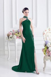 High Quality Elastic Woven Satin Sleeveless Prom Gown Sweep Train and Beading