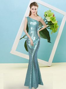 Aqua Blue One Shoulder Neckline Sequins Evening Dress Sleeveless Zipper