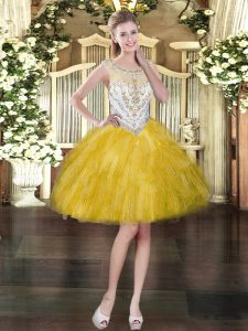 Sleeveless Mini Length Beading and Ruffles Zipper Homecoming Dress with Gold