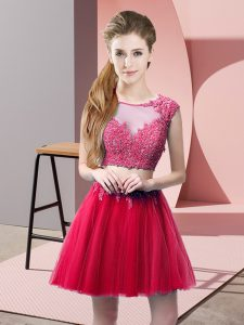 Popular Hot Pink Two Pieces Tulle Scoop Sleeveless Appliques Mini Length Zipper Prom Dresses