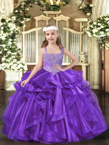 Organza Sleeveless Floor Length Pageant Dress Womens and Beading and Ruffles