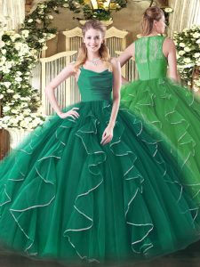 Fabulous Peacock Green Organza Zipper Ball Gown Prom Dress Sleeveless Floor Length Ruffles