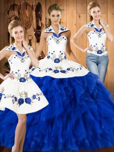 Glittering Halter Top Sleeveless Satin and Organza Sweet 16 Dresses Embroidery and Ruffles Lace Up