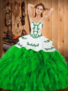 High Quality Sleeveless Lace Up Floor Length Embroidery and Ruffles Ball Gown Prom Dress