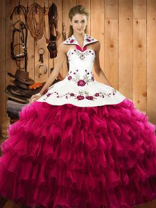 Delicate Fuchsia Ball Gowns Satin and Organza Halter Top Sleeveless Embroidery and Ruffled Layers Floor Length Lace Up Sweet 16 Dress