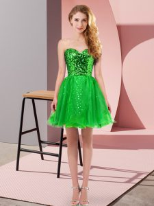 Green A-line Sequins Homecoming Dress Zipper Tulle Sleeveless Mini Length