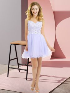 High End Lavender Empire Tulle V-neck Sleeveless Beading and Lace Mini Length Side Zipper Dama Dress for Quinceanera