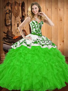 Super Sleeveless Lace Up Floor Length Embroidery and Ruffles Sweet 16 Dresses