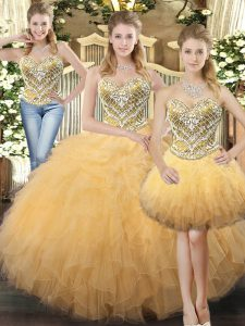 Traditional Beading and Ruffles Sweet 16 Dresses Gold Lace Up Sleeveless Floor Length
