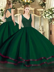 Dark Green Zipper V-neck Beading and Ruffled Layers Sweet 16 Dresses Tulle Sleeveless