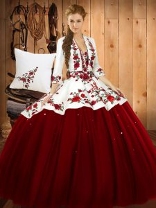 Admirable Sleeveless Satin and Tulle Floor Length Lace Up Sweet 16 Quinceanera Dress in Wine Red with Embroidery