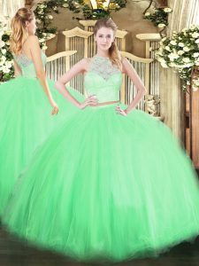 New Style Scoop Sleeveless Tulle 15 Quinceanera Dress Lace Zipper