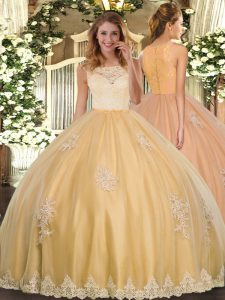 Edgy Gold Scoop Clasp Handle Lace and Appliques Sweet 16 Quinceanera Dress Sleeveless