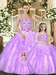 Beauteous Lilac Organza Lace Up Vestidos de Quinceanera Sleeveless Floor Length Beading and Ruffles