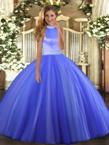 Fashion Sleeveless Tulle Floor Length Backless Sweet 16 Dresses in Blue with Beading