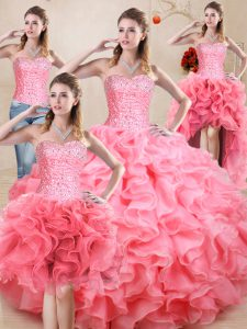 Latest Baby Pink Sleeveless Beading and Ruffles and Ruching Floor Length Vestidos de Quinceanera