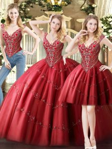 Unique Beading Quince Ball Gowns Wine Red Lace Up Sleeveless Floor Length