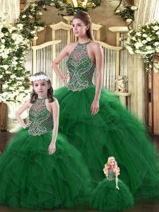 Popular Sleeveless Tulle Floor Length Lace Up Sweet 16 Dresses in Dark Green with Beading and Ruffles