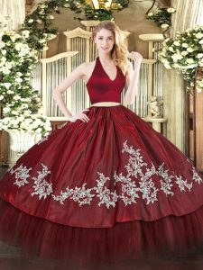 Amazing Burgundy Halter Top Neckline Appliques Sweet 16 Dress Sleeveless Zipper