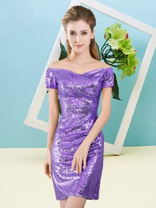 Cute Column/Sheath Lavender Off The Shoulder Sequined Short Sleeves Mini Length Zipper