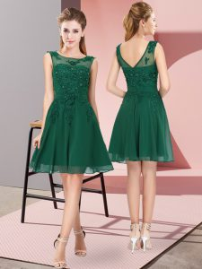 Dark Green Empire Appliques Bridesmaid Dresses Zipper Chiffon Sleeveless Knee Length