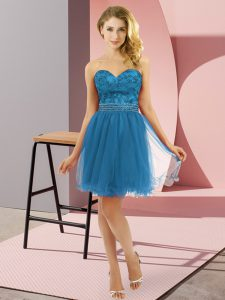 Glorious Teal Zipper Sweetheart Beading Prom Party Dress Tulle Sleeveless