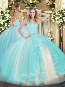 Aqua Blue Sleeveless Floor Length Beading Zipper Ball Gown Prom Dress
