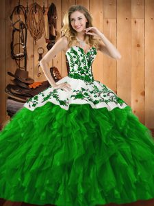 Green Sleeveless Floor Length Embroidery and Ruffles Lace Up Vestidos de Quinceanera