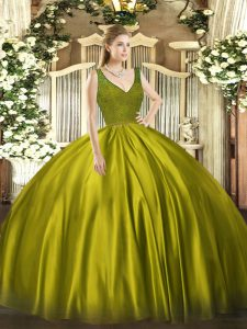 Dazzling Floor Length Backless Quinceanera Dress Olive Green for Military Ball and Sweet 16 and Quinceanera with Beading and Lace