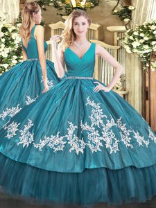 Clearance V-neck Sleeveless Quinceanera Gown Floor Length Beading and Appliques Teal Tulle