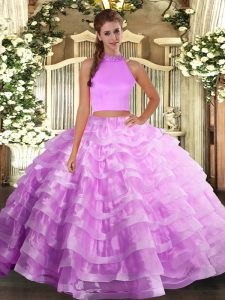 Halter Top Sleeveless Backless Vestidos de Quinceanera Lilac Organza