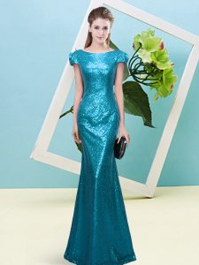 Teal Prom Dresses Prom and Party with Sequins Scoop Cap Sleeves Zipper