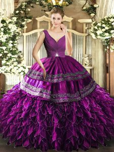 Modest Purple Backless V-neck Beading and Ruffles and Ruching Quinceanera Gown Organza Sleeveless