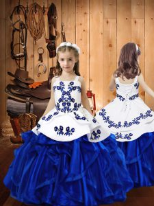 Fashion Royal Blue Ball Gowns Straps Sleeveless Organza Floor Length Lace Up Embroidery and Ruffles Little Girls Pageant Dress