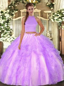 Perfect Lavender Sleeveless Organza Backless Quinceanera Dress for Military Ball and Sweet 16 and Quinceanera