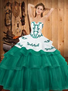 Free and Easy Turquoise Quinceanera Dresses Military Ball and Sweet 16 and Quinceanera with Embroidery and Ruffled Layers Strapless Sleeveless Sweep Train Lace Up