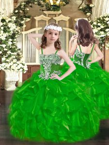 Perfect Floor Length Ball Gowns Sleeveless Green Pageant Dress for Womens Lace Up