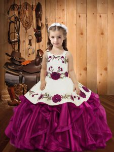 Amazing Sleeveless Floor Length Embroidery and Ruffles Lace Up High School Pageant Dress with Fuchsia