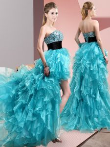 Great Sweetheart Sleeveless Dress for Prom High Low Beading and Ruffles Aqua Blue Organza