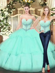 Customized Apple Green Lace Up Sweetheart Beading and Ruffled Layers 15th Birthday Dress Organza Sleeveless