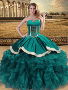 Ideal Floor Length Teal Sweet 16 Dresses Sweetheart Sleeveless Lace Up