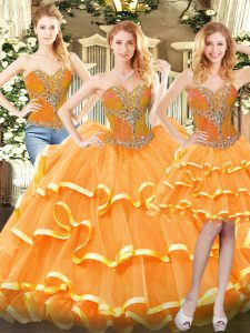 Organza Sweetheart Sleeveless Lace Up Beading and Ruffled Layers Quinceanera Gown in Orange Red