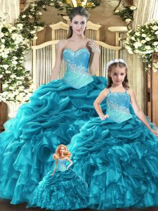 Custom Designed Floor Length Teal Vestidos de Quinceanera Tulle Sleeveless Beading and Ruffles and Ruching and Pick Ups