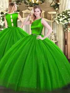 Elegant Green Tulle Clasp Handle Quince Ball Gowns Sleeveless Floor Length Belt