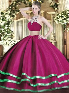 Top Selling Fuchsia Tulle Backless Vestidos de Quinceanera Sleeveless Floor Length Beading